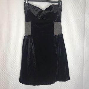 Sean John Black Velvet Strapless Mini Party Dress